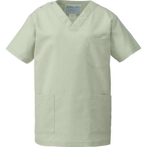 KAZEN カラースクラブ(男女兼用) 医療白衣 半袖 ミントグリーン SS 133-96 (直送品)