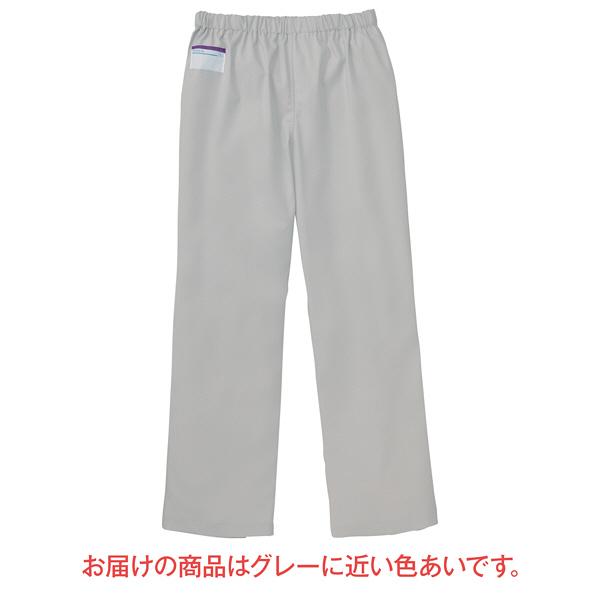 KAZEN カラーパンツ(男女兼用) スクラブパンツ 医療白衣 シルバーホワイト S 155-90 (直送品)