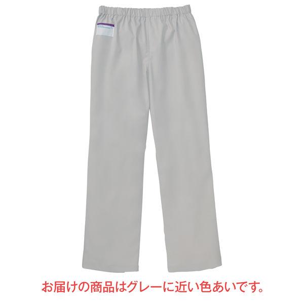 KAZEN カラーパンツ(男女兼用) スクラブパンツ 医療白衣 シルバーホワイト SS 155-90 (直送品)