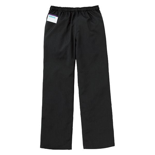 KAZEN カラーパンツ(男女兼用) スクラブパンツ 医療白衣 ブラック SS 155-99 (直送品)