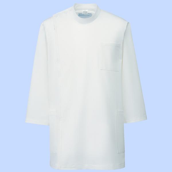 KAZEN メンズ医務衣(七分袖) オフホワイト 4L 246-10 (直送品)