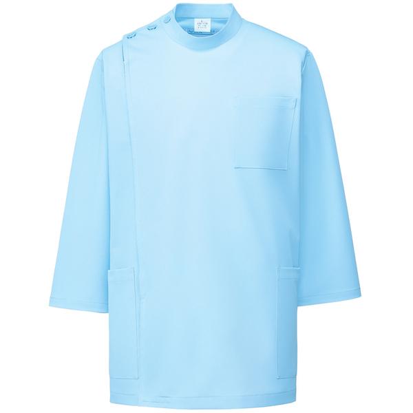 KAZEN メンズ医務衣(七分袖) サックス S 246-11 (直送品)