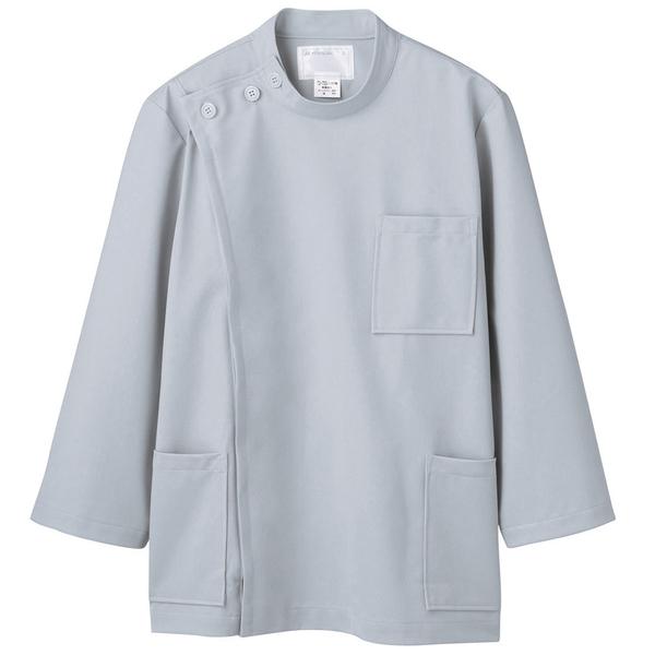 住商モンブラン メンズケーシー(8分袖 医務衣) グレー LL 72-715 (直送品)