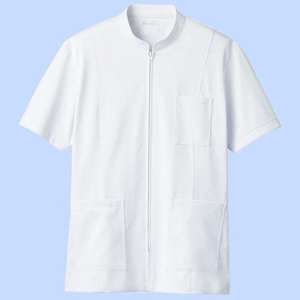 住商モンブラン メンズジップアップジャケット(半袖) 医務衣 ホワイト LL 72-982 (直送品)