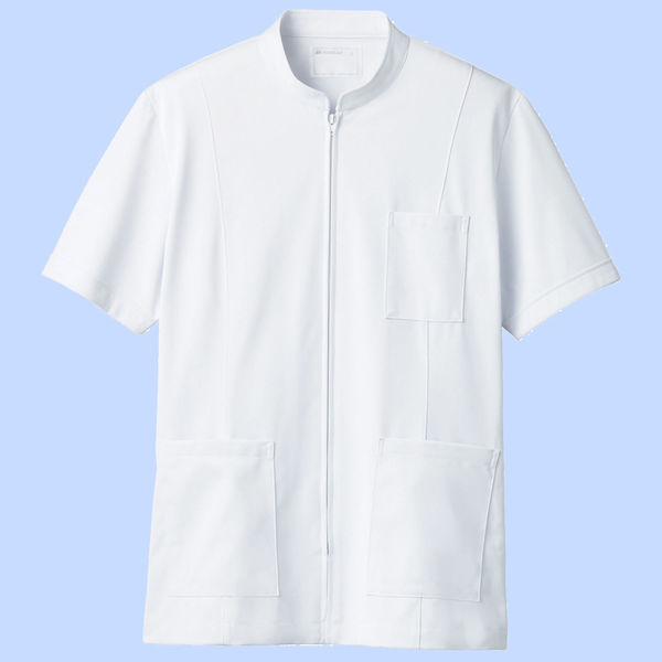 住商モンブラン メンズジップアップジャケット(半袖) 医務衣 ホワイト M 72-982 (直送品)
