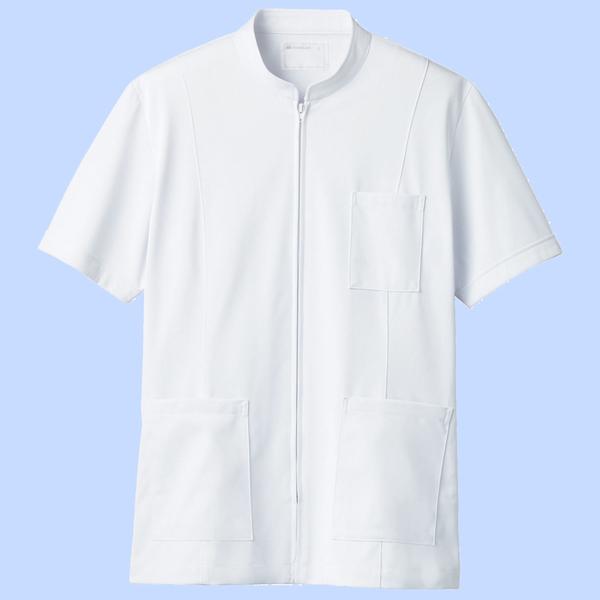 住商モンブラン メンズジップアップジャケット(半袖) 医務衣 ホワイト S 72-982 (直送品)