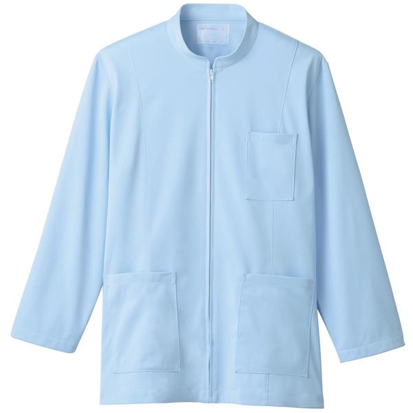 住商モンブラン メンズジップアップジャケット(長袖) 医務衣 サックス LL 72-983 (直送品)