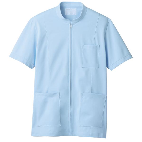 メンズジップアップジャケット(半袖 医務衣) 72-984 サックス 3L (直送品)