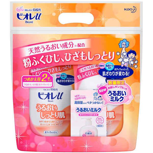 【アウトレット】花王 ビオレuうるおい肌 詰替400ml×2個+うるおいミルク試供品 白 272935 1個