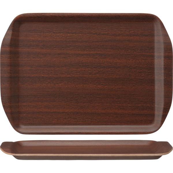 木製ノンスリップトレー ハンドルタイプ マホガニー L