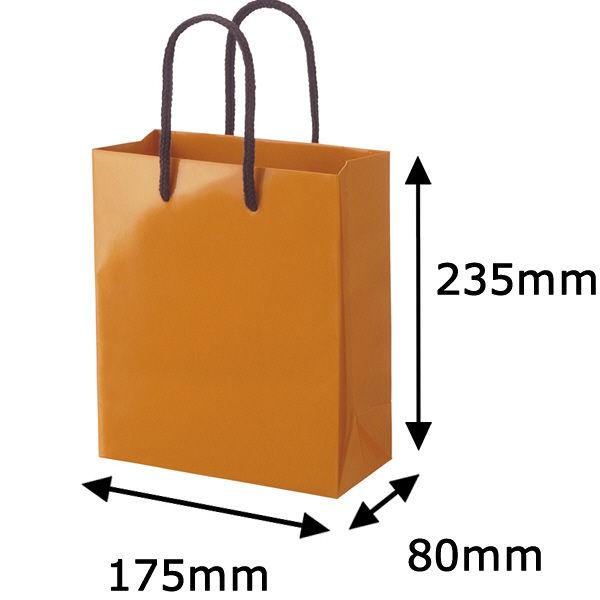 丸紐 手提げ紙袋 オレンジ L 5枚