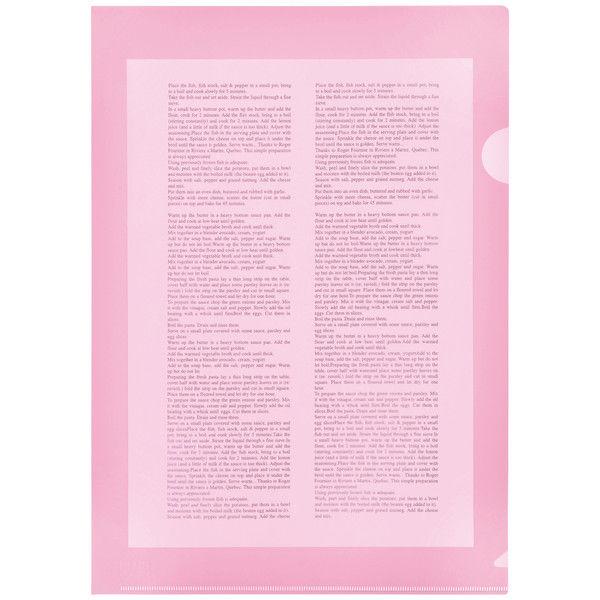 プラス カラークリアホルダー A4 1箱(600枚) ピンク