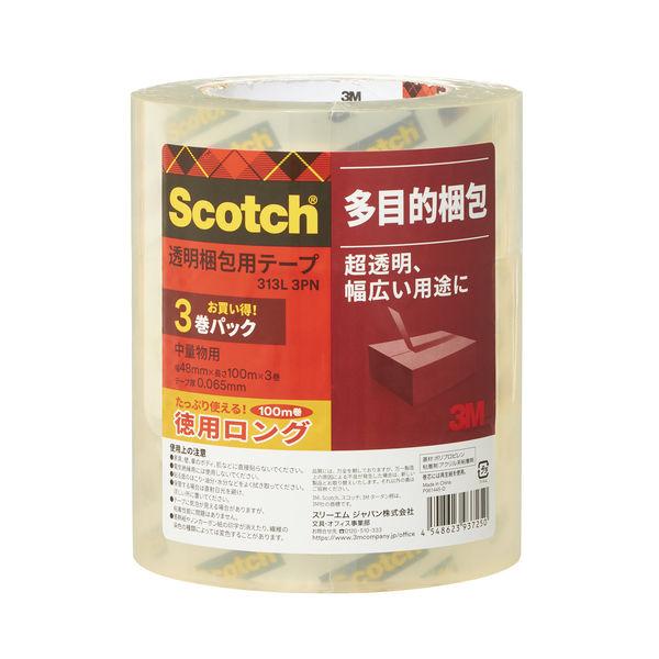 3M スコッチ(R) 透明梱包用テープ 313シリーズ 0.065mm厚 100m巻 313 3PNL 1セット(12巻:3巻入×4パック)スリーエムジャパン