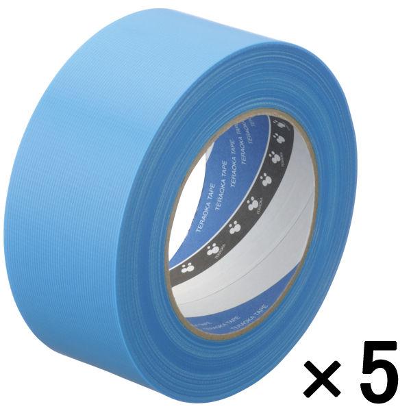 寺岡製作所 P-カットテープ 4140 強粘着 青 幅50mm×50m巻 1セット(5巻:1巻×5)