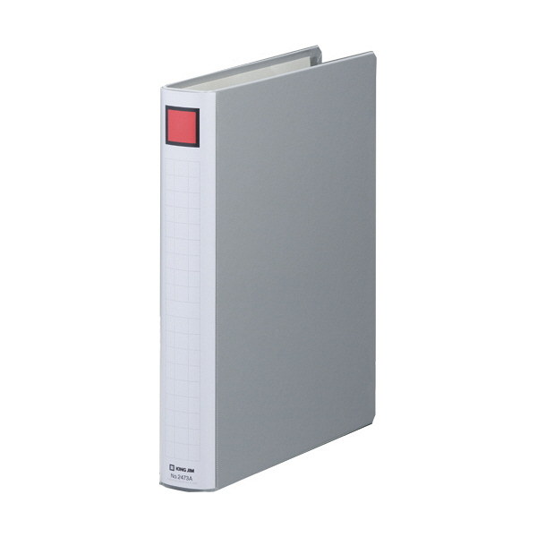 キングファイル スーパードッチ 脱着イージー A4タテ とじ厚30mm グレー キングジム 両開きパイプファイル 2473Aクレ