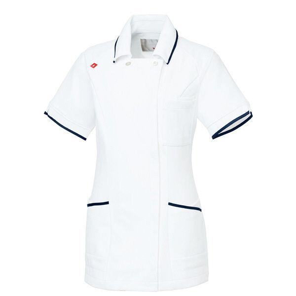 ルコックスポルティフ レディスジャケット(離れ衿) UQW1025 ホワイト×ネイビー(バニラ×ネイビーテープ) LL ナースジャケット 医療白衣 1枚