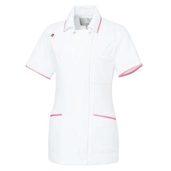 ルコックスポルティフ レディスジャケット(離れ衿) UQW1025 ホワイト×ピンク(バニラ×ピンクテープ) S ナースジャケット 医療白衣 1枚