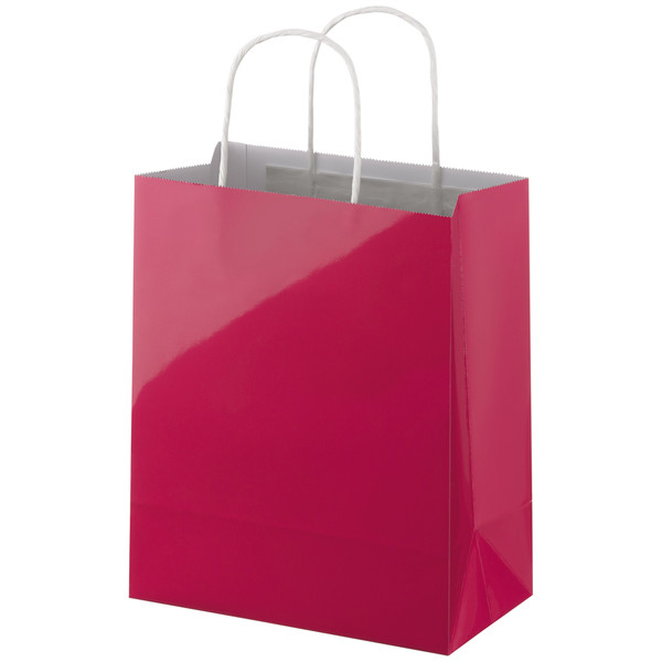 【アウトレット】UV丸紐手提袋A ピンク M 1セット(50枚:10枚入×5袋) スーパーバッグ