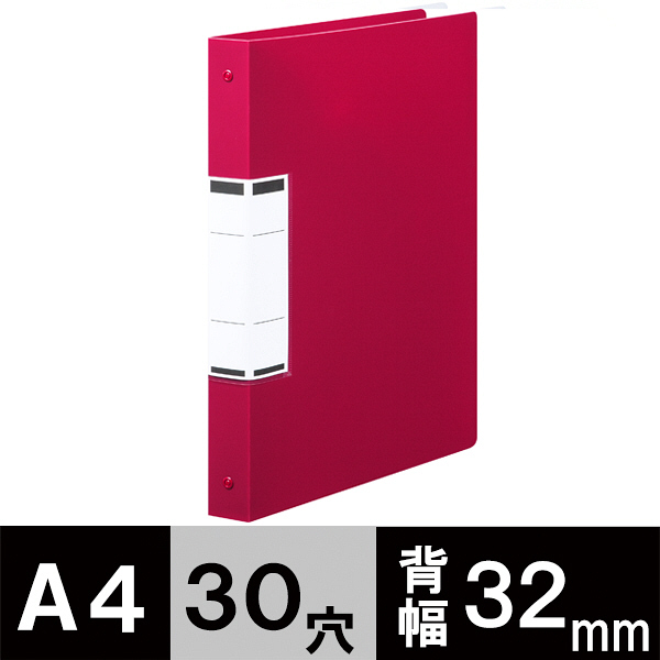アスクル クリアファイル 差し替え式 10冊 A4タテ背幅32mm ユーロスタイル レッド
