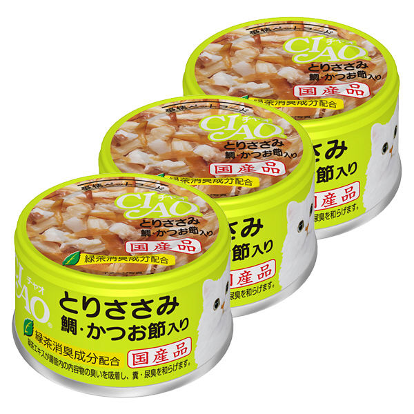 チャオ 鶏ささみ鯛かつお 3缶