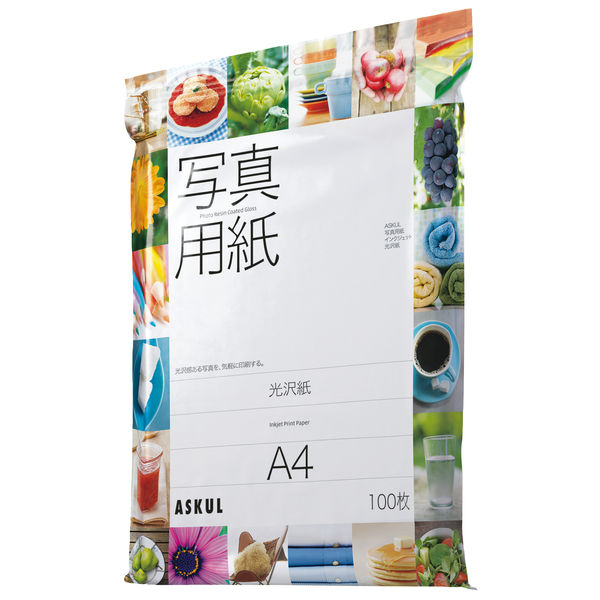 アスクル インクジェットペーパー 光沢紙 A4 1袋(100枚入)