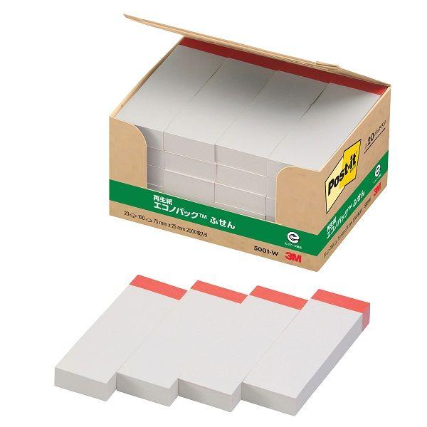 スリーエム Post-it 再生紙ふせん 5001 ホワイト 5001-W 1箱(100枚×20パッド) (直送品)