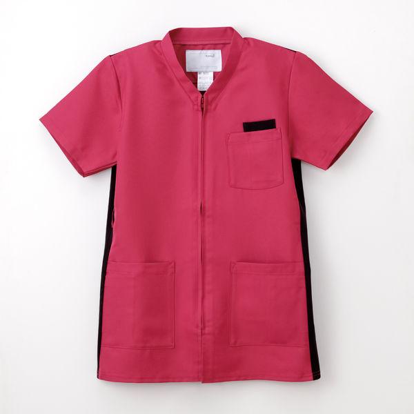 ナガイレーベン 男女兼用上衣 (スクラブ) 医療白衣 半袖 ディープピンク LL RT-5072 (取寄品)