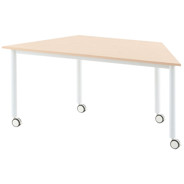 移動や組み替えがカンタンなキャスター付きテーブル。一辺800mmと1600mmの台形テーブルは他のキャスターテーブルと様々な組み合わせが出来ます。