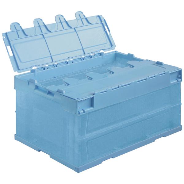 アスクル「現場のチカラ」 物流向け折りたたみコンテナ フタ一体型 41.6L ライトブルー 1セット(10個:5個入×2箱)