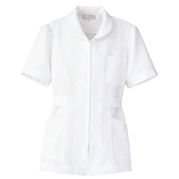AITOZ(アイトス) ナースジャケット(パイピング) 女性用 半袖 ホワイト M 861338-001