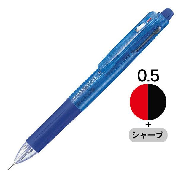 ゼブラ ゲルインク多機能ボールペン サラサ2+S 青軸 SJ2-BL 1セット(5本:1本×5)