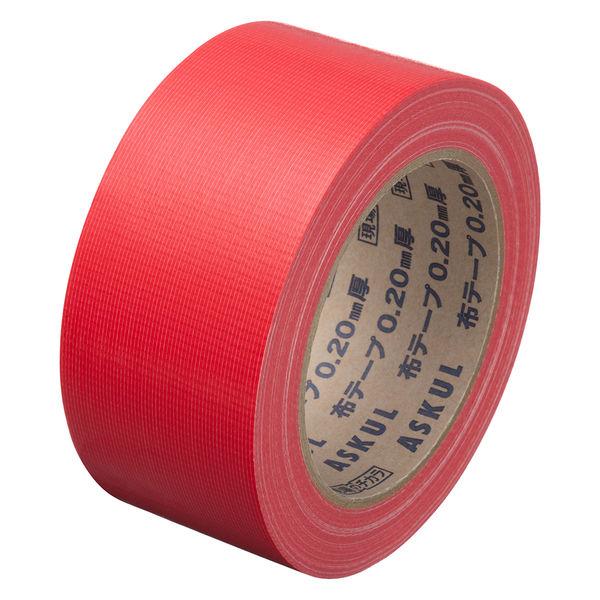 「現場のチカラ」 カラー布テープ No.8015 0.20mm厚 50mm×25m巻 赤 アスクル