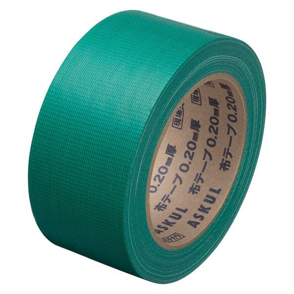「現場のチカラ」 カラー布テープ No.8015 0.20mm厚 50mm×25m巻 緑 アスクル