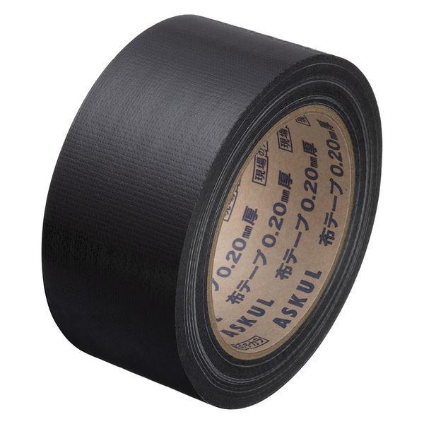「現場のチカラ」 カラー布テープ No.8015 0.20mm厚 50mm×25m巻 黒 1セット(5巻:1巻×5) アスクル