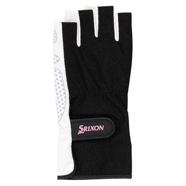 SRIXON(スリクソン) レディース シリコンプリントグローブ ハーフタイプ(両手セット) L ブラツク 1セット DUN SGG2560 081(取寄品)