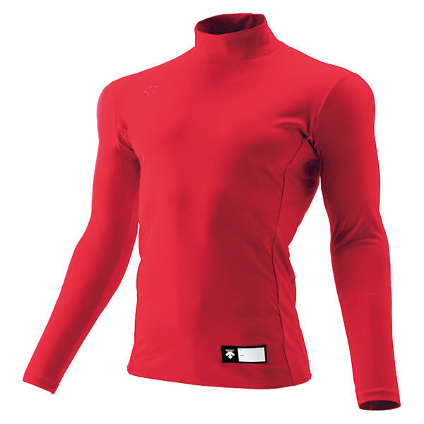 ジュニア ハイネック長袖リラックスFITシャツ 160 レッド 1枚 DS JSTD750 RED デサント(取寄品)