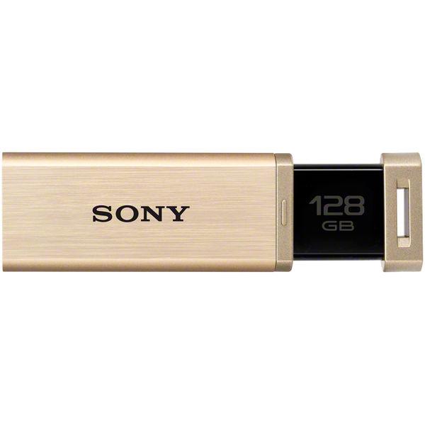 ソニー USB3.0対応 ノックスライド式高速(226MB/s)USBメモリー 128GB ゴールド キャップレス USM128GQX N 1個  (直送品)