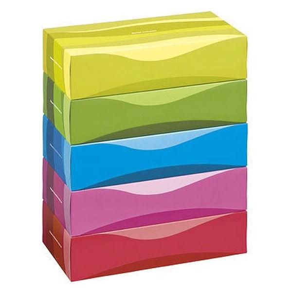 アスクル ティッシュペーパー オリジナルティッシュ ビビッドカラー 150組 5箱