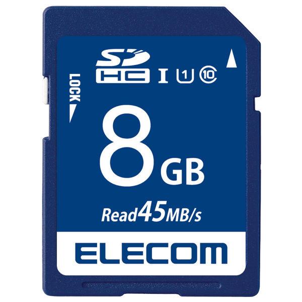 ELECOM SDHCカード/データ復旧サービス付/UHS-I U1 45MB/s 8GB MF-FS008GU11R 1個 (直送品)