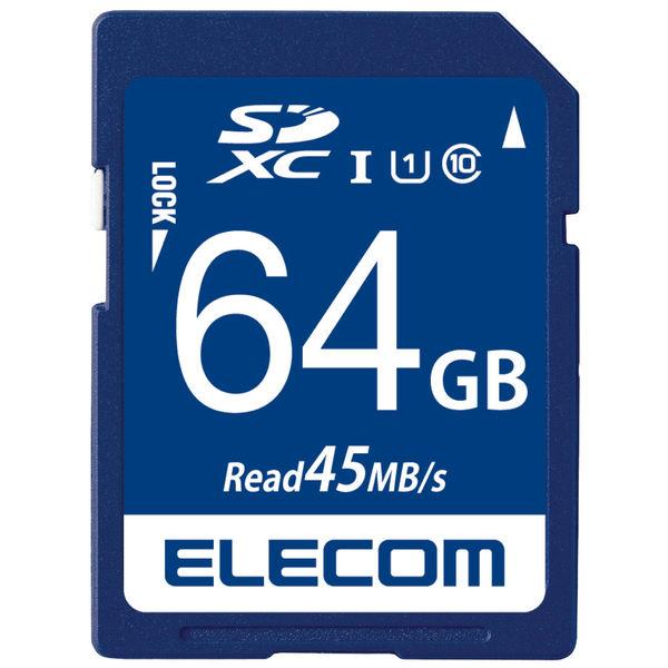 ELECOM SDXCカード/データ復旧サービス付/UHS-I U1 45MB/s 64GB MF-FS064GU11R 1個 (直送品)