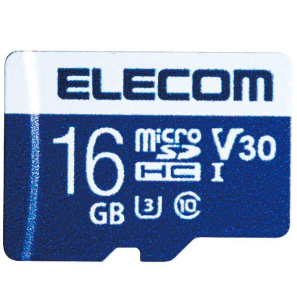 ELECOM MicroSDHCカード/データ復旧サービス付/ビデオスピードクラス対応/UHS-I U3 80MB/s 16GB 1個 (直送品)