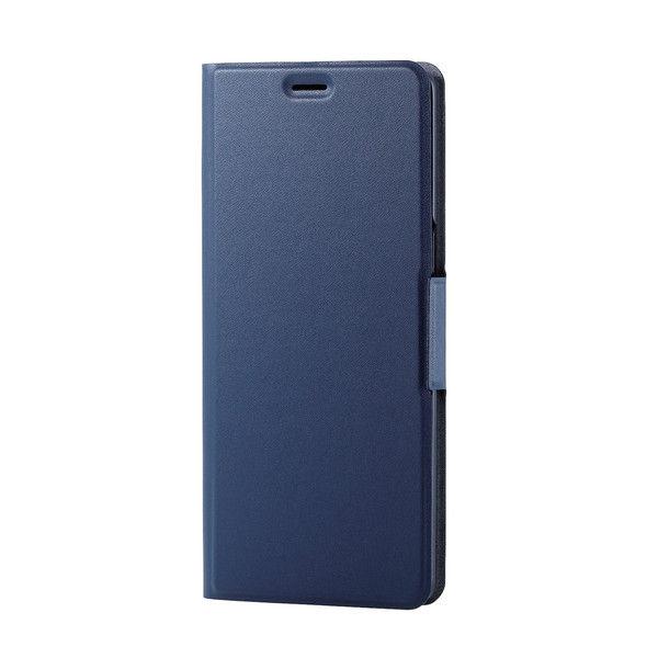 ELECOM Galaxy Note 8/ソフトレザーカバー/薄型/磁石付/ネイビー PM-SCN8PLFUNV 1個 (直送品)
