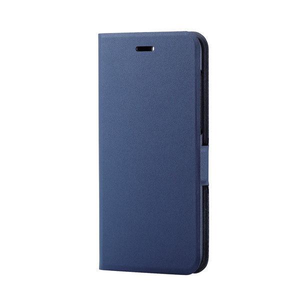 ELECOM ZenFone 4/ソフトレザーカバー/薄型/磁石付/ネイビー PM-ZN4PLFUNV 1個 (直送品)