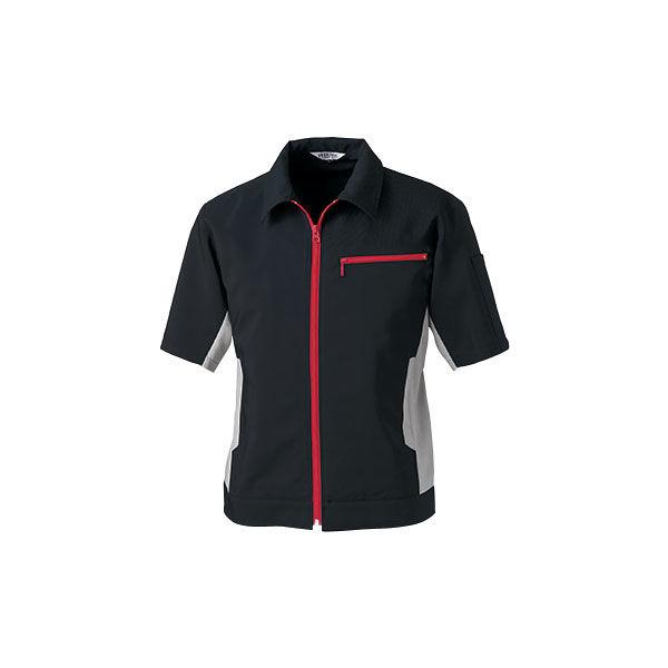明石スクールユニフォームカンパニー 男女兼用半袖ブルゾン ブラック 5L UN5503-0-5L (直送品)