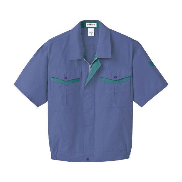 明石スクールユニフォームカンパニー メンズ半袖ブルゾン ブルー×ターコイズグリーン 5L UN629-6-5L (直送品)