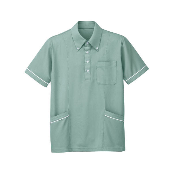 明石スクールユニフォームカンパニー 男女兼用ニットシャツ(脇ポケット付き) グリーン S UZQ722-6-S (直送品)