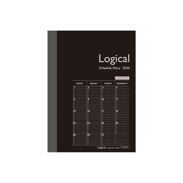 2020年 スケジュール帳 ナカバヤシ ロジカルダイアリー月間ノートタイプB A6 ブラック NS-A602-20BD 1セット(3冊)(直送品)