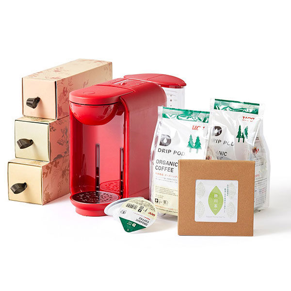 ドリップポッド(赤)+コーヒー+掛川茶