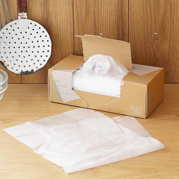 ポリ袋 食品保存袋 L (マチ付き・冷凍・冷蔵・湯煎対応) カサカサタイプ 半透明 1箱(150枚入) ロハコ(LOHACO) オリジナル