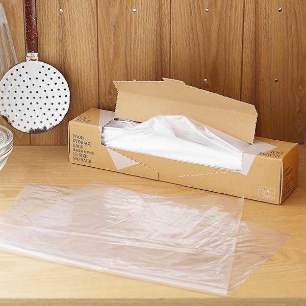 ポリ袋 食品保存袋 LL (マチ無し・冷凍・冷蔵対応)ツルツルタイプ 透明 1箱(100枚入) ロハコ(LOHACO) オリジナル